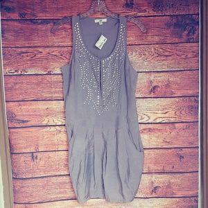 NWT gray studded dress size medium